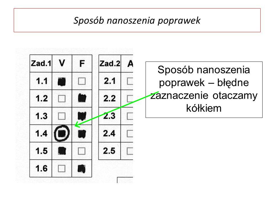 Sposób nanoszenia poprawek Sposób nanoszenia poprawek – błędne zaznaczenie otaczamy kółkiem