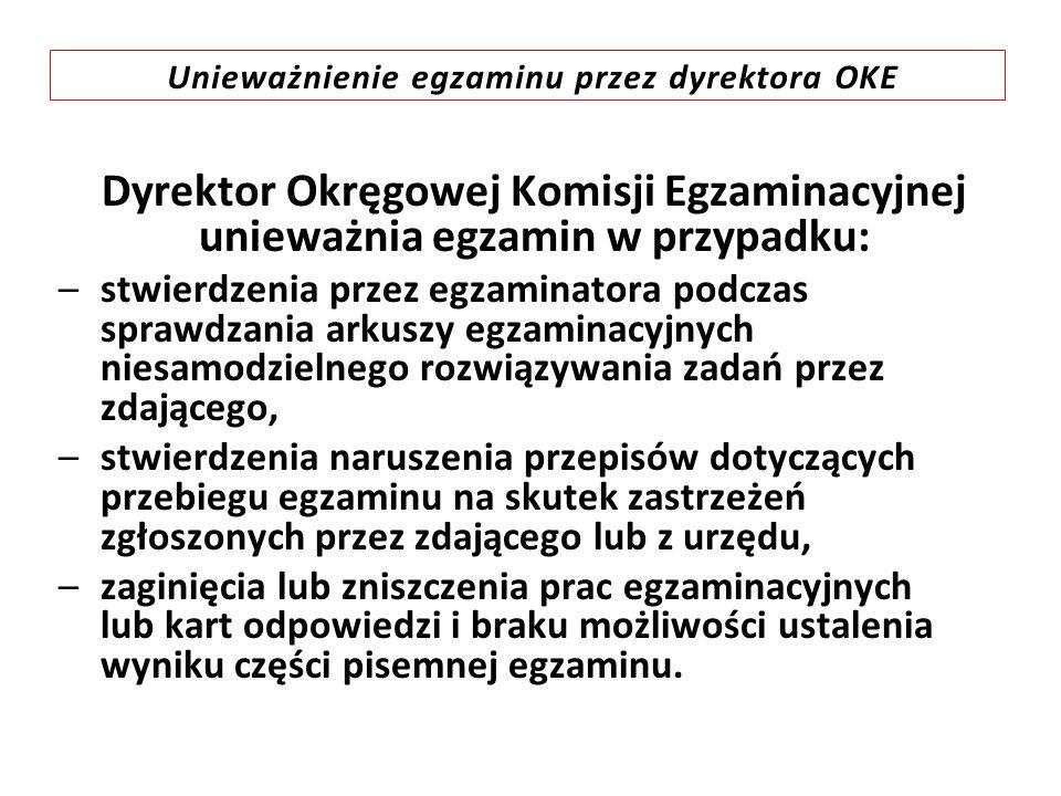 Unieważnienie egzaminu przez dyrektora OKE Dyrektor Okręgowej Komisji Egzaminacyjnej unieważnia egzamin w przypadku: –stwierdzenia przez egzaminatora