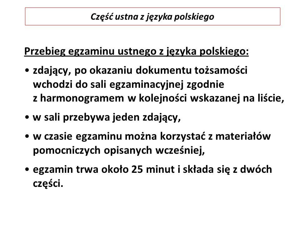 Przebieg egzaminu ustnego z języka polskiego: zdający, po okazaniu dokumentu tożsamości wchodzi do sali egzaminacyjnej zgodnie z harmonogramem w kolej