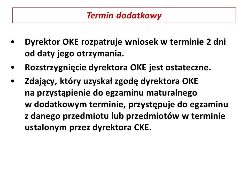 Dyrektor OKE rozpatruje wniosek w terminie 2 dni od daty jego otrzymania. Rozstrzygnięcie dyrektora OKE jest ostateczne. Zdający, który uzyskał zgodę