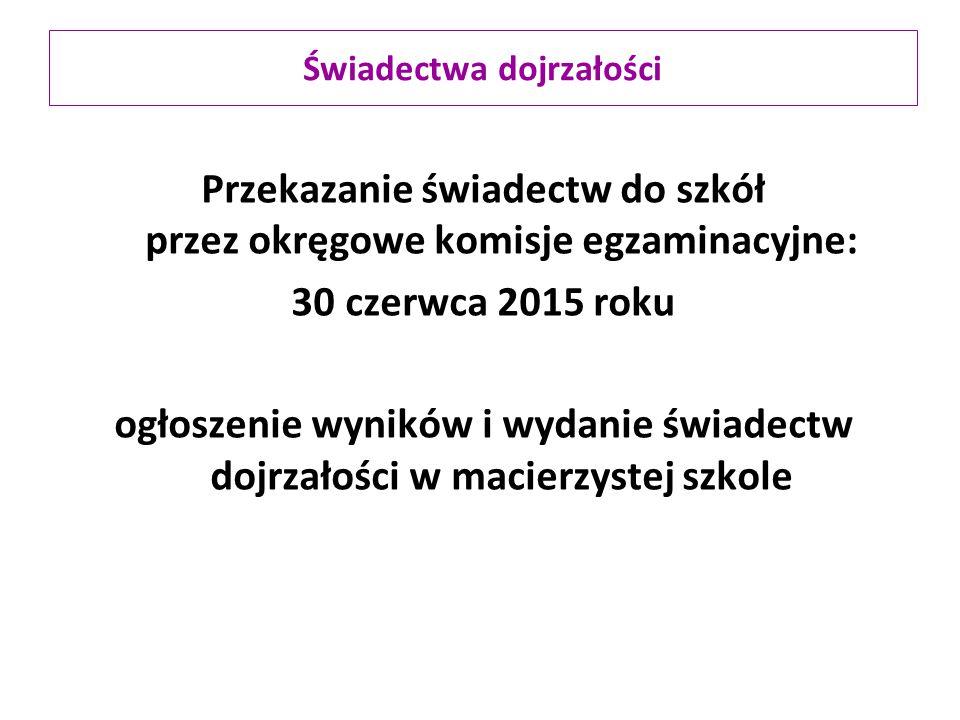 Przekazanie świadectw do szkół przez okręgowe komisje egzaminacyjne: 30czerwca 2015 roku ogłoszenie wyników i wydanie świadectw dojrzałości w macierzy