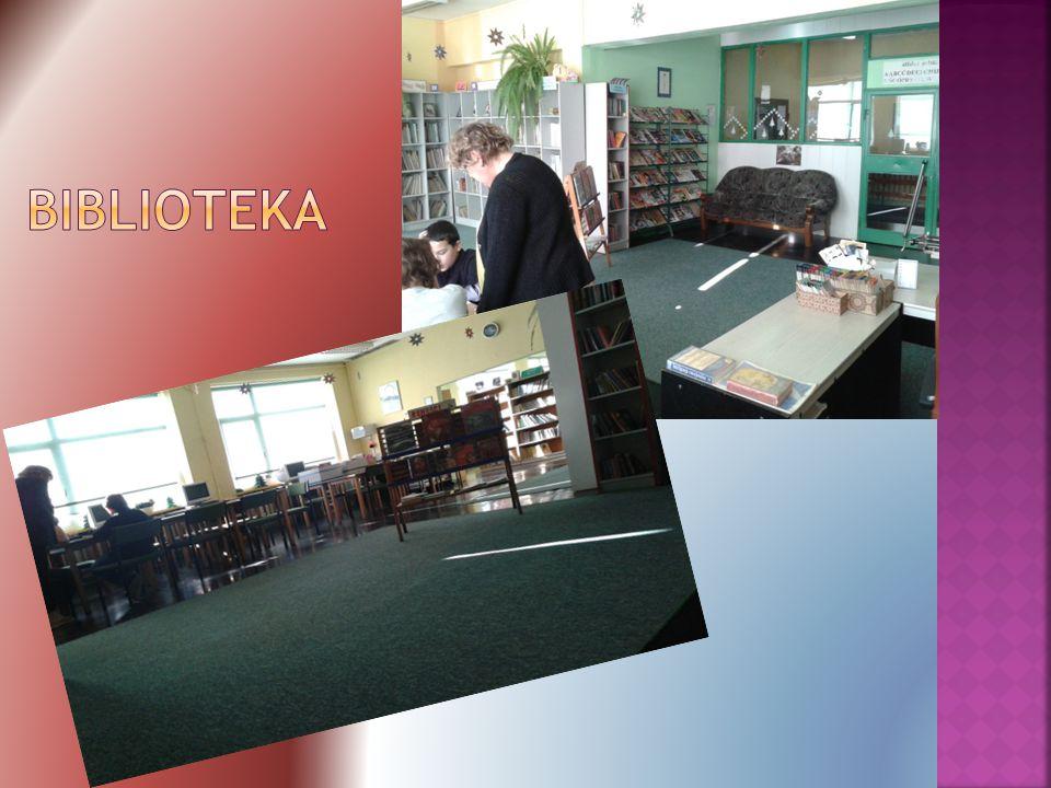  Uczniowie mogą skorzystać z bogatej oferty książek  Pracują tam pani Małgorzata Łabuz, oraz pani Violetta Wolak, które zawsze pomogą uczniom.  Dos