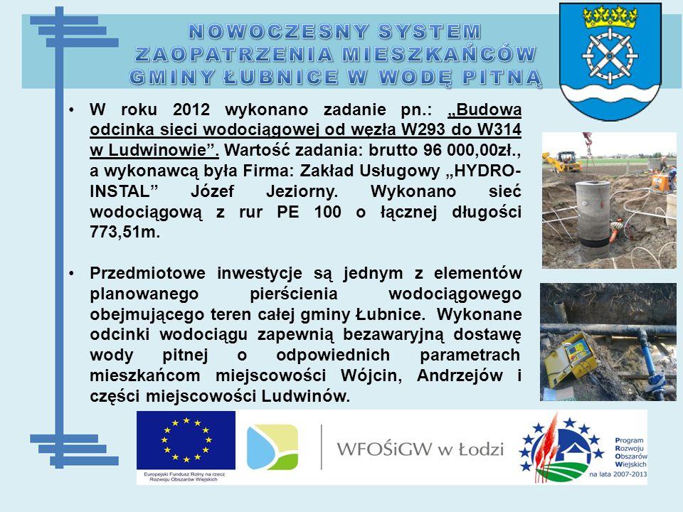 """W roku 2012 wykonano zadanie pn.: """"Budowa odcinka sieci wodociągowej od węzła W293 do W314 w Ludwinowie ."""