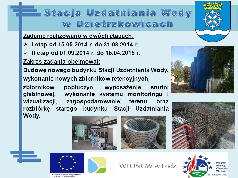  Powierzchnia użytkowa budynku nowej Stacji Uzdatniania Wody w Dzietrzkowicach wynosi 178,17m 2, gdzie znajdują się następujące pomieszczenia: hala filtrów, chlorownia, pomieszczenie techniczne, gdzie zlokalizowano agregat prądotwórczy oraz sterownia z pomieszczeniem sanitarnym.