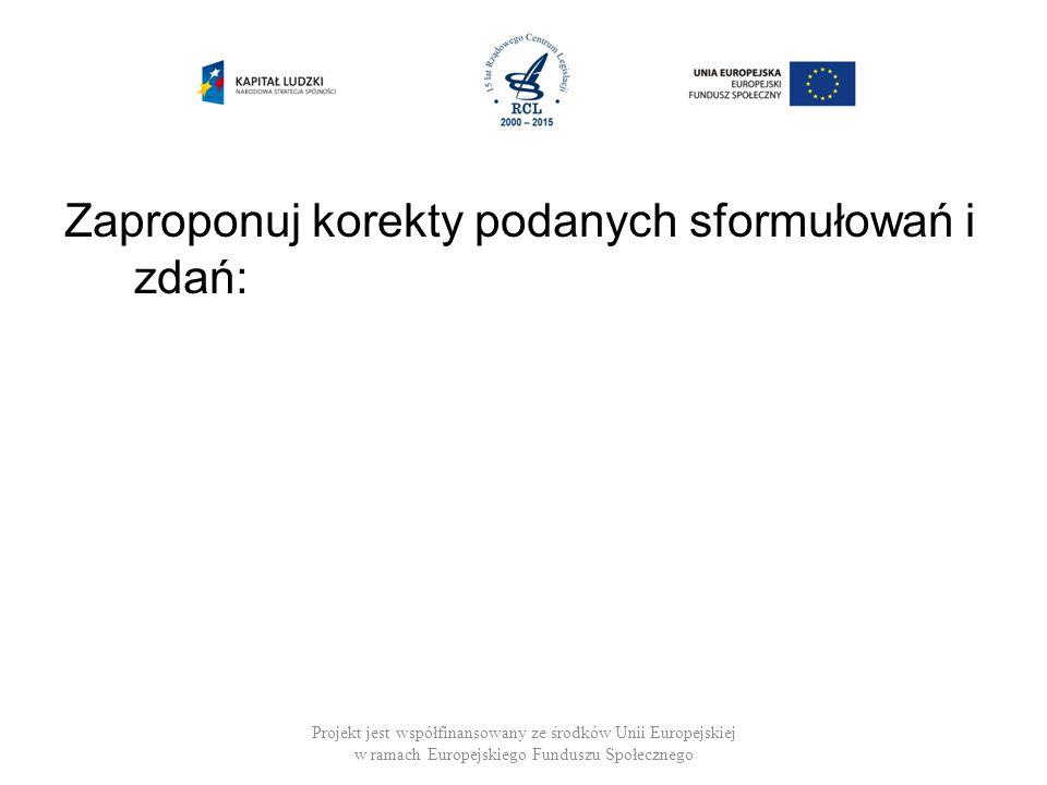 Zaproponuj korekty podanych sformułowań i zdań: Projekt jest współfinansowany ze środków Unii Europejskiej w ramach Europejskiego Funduszu Społecznego