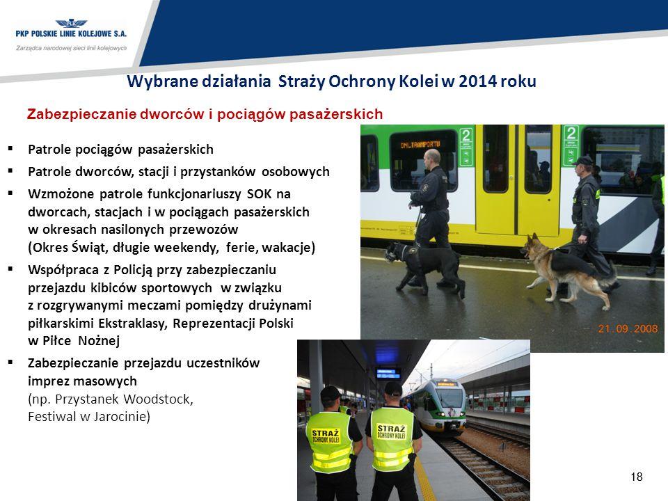 18 Zabezpieczanie dworców i pociągów pasażerskich  Patrole pociągów pasażerskich  Patrole dworców, stacji i przystanków osobowych  Wzmożone patrole