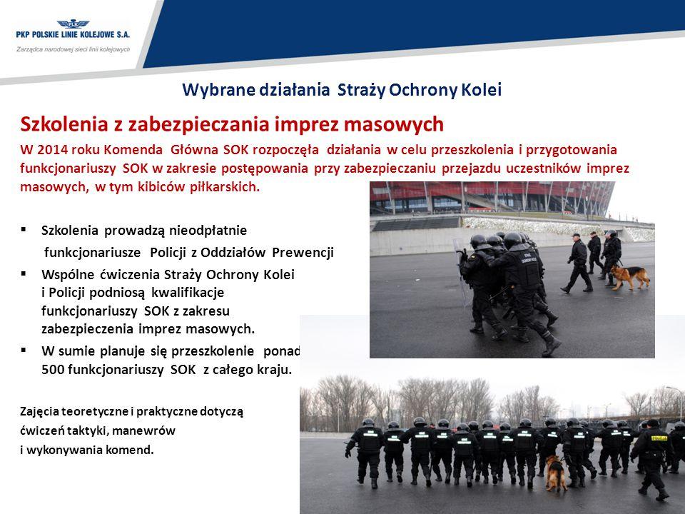 20 Wybrane działania Straży Ochrony Kolei Szkolenia z zabezpieczania imprez masowych W 2014 roku Komenda Główna SOK rozpoczęła działania w celu przesz
