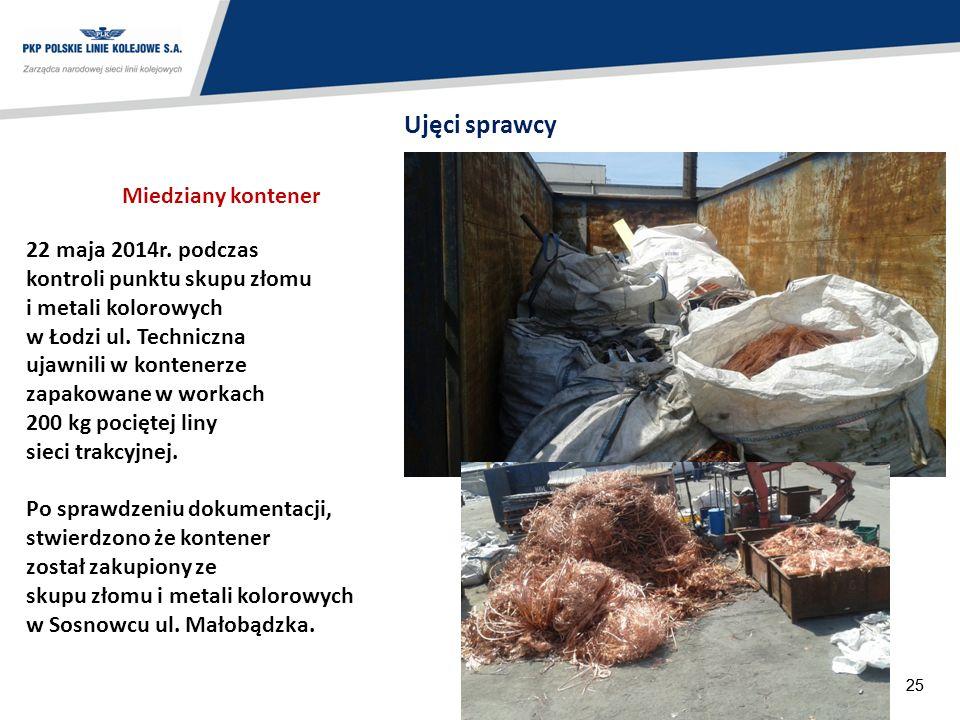 25 22 maja 2014r. podczas kontroli punktu skupu złomu i metali kolorowych w Łodzi ul. Techniczna ujawnili w kontenerze zapakowane w workach 200 kg poc
