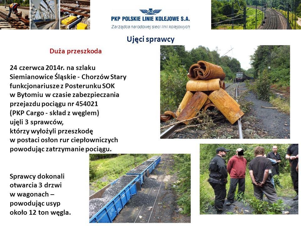 Zarządca narodowej sieci linii kolejowych 24 czerwca 2014r. na szlaku Siemianowice Śląskie - Chorzów Stary funkcjonariusze z Posterunku SOK w Bytomiu