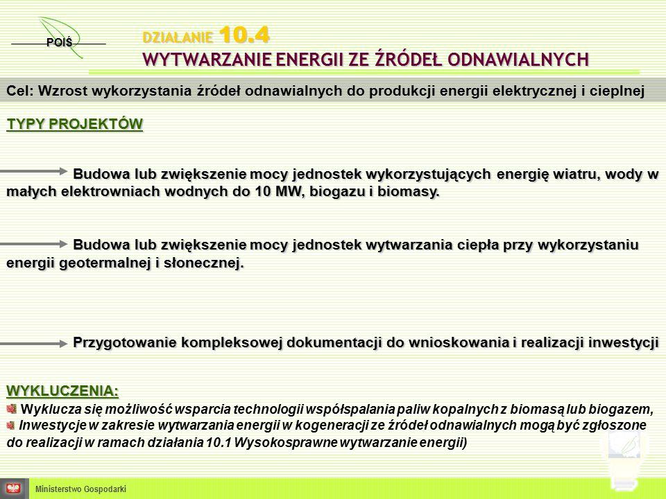 POIŚ Ministerstwo Gospodarki Cel: Wzrost wykorzystania źródeł odnawialnych do produkcji energii elektrycznej i cieplnej WYKLUCZENIA: Wyklucza się możliwość wsparcia technologii współspalania paliw kopalnych z biomasą lub biogazem, Inwestycje w zakresie wytwarzania energii w kogeneracji ze źródeł odnawialnych mogą być zgłoszone do realizacji w ramach działania 10.1 Wysokosprawne wytwarzanie energii) DZIAŁANIE 10.4 WYTWARZANIE ENERGII ZE ŹRÓDEŁ ODNAWIALNYCH TYPY PROJEKTÓW Budowa lub zwiększenie mocy jednostek wykorzystujących energię wiatru, wody w małych elektrowniach wodnych do 10 MW, biogazu i biomasy.