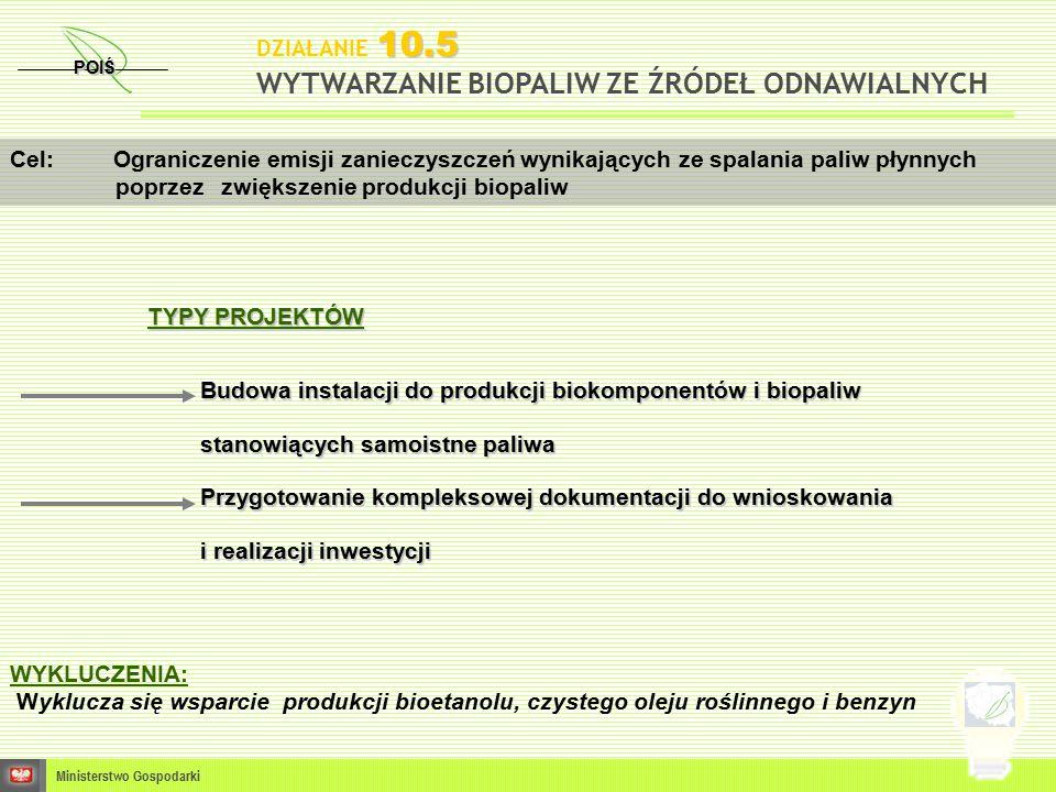 POIŚ Ministerstwo Gospodarki Cel: Ograniczenie emisji zanieczyszczeń wynikających ze spalania paliw płynnych poprzezzwiększenie produkcji biopaliw 10.5 DZIAŁANIE 10.5 WYTWARZANIE BIOPALIW ZE ŹRÓDEŁ ODNAWIALNYCH TYPY PROJEKTÓW Budowa instalacji do produkcji biokomponentów i biopaliw stanowiących samoistne paliwa Przygotowanie kompleksowej dokumentacji do wnioskowania i realizacji inwestycji WYKLUCZENIA: Wyklucza się wsparcie produkcji bioetanolu, czystego oleju roślinnego i benzyn