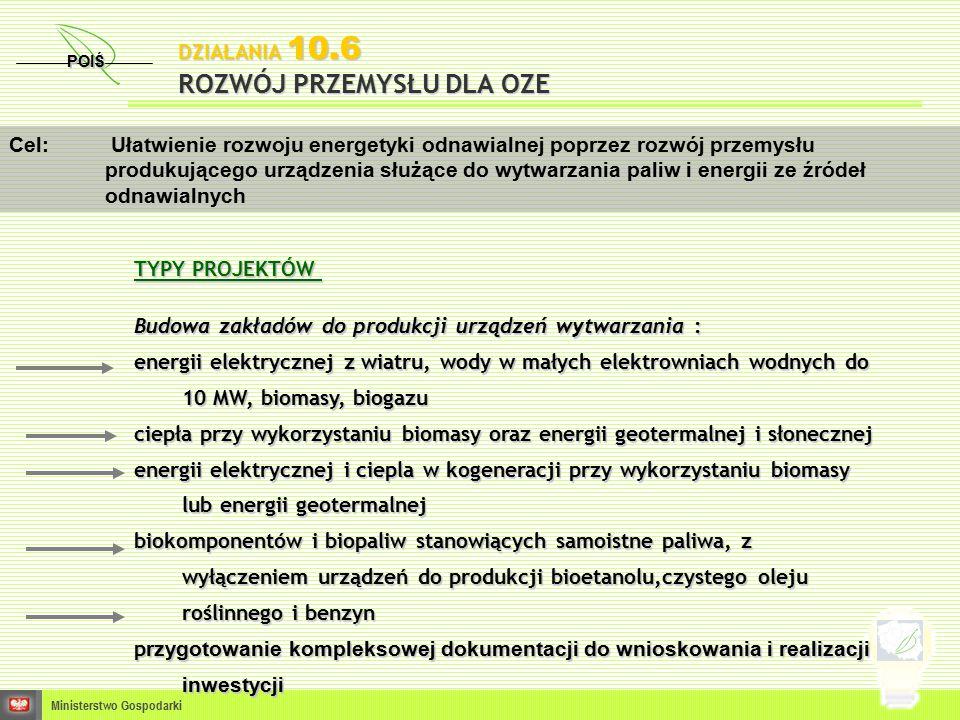 DZIAŁANIA 10.6 ROZWÓJ PRZEMYSŁU DLA OZE POIŚ Ministerstwo Gospodarki Cel: Ułatwienie rozwoju energetyki odnawialnej poprzez rozwój przemysłu produkującego urządzenia służące do wytwarzania paliw i energii ze źródeł odnawialnych TYPY PROJEKTÓW TYPY PROJEKTÓW Budowa zakładów do produkcji urządzeń wytwarzania : energii elektrycznej z wiatru, wody w małych elektrowniach wodnych do 10 MW, biomasy, biogazu ciepła przy wykorzystaniu biomasy oraz energii geotermalnej i słonecznej energii elektrycznej i ciepla w kogeneracji przy wykorzystaniu biomasy lub energii geotermalnej biokomponentów i biopaliw stanowiących samoistne paliwa, z wyłączeniem urządzeń do produkcji bioetanolu,czystego oleju roślinnego i benzyn p rzygotowanie kompleksowej dokumentacji do wnioskowania i realizacji inwestycji p rzygotowanie kompleksowej dokumentacji do wnioskowania i realizacji inwestycji