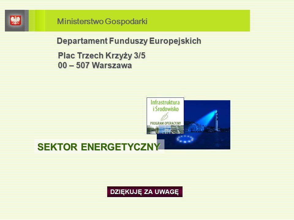 Departament Funduszy Europejskich Plac Trzech Krzyży 3/5 Plac Trzech Krzyży 3/5 00 – 507 Warszawa 00 – 507 Warszawa DZIĘKUJĘ ZA UWAGĘ SEKTOR ENERGETYCZNY