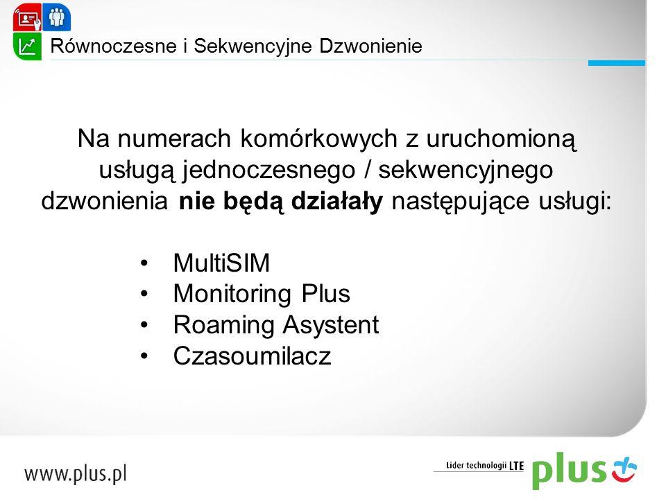 Na numerach komórkowych z uruchomioną usługą jednoczesnego / sekwencyjnego dzwonienia nie będą działały następujące usługi: MultiSIM Monitoring Plus R