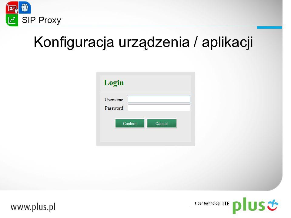 SIP Proxy Konfiguracja urządzenia / aplikacji
