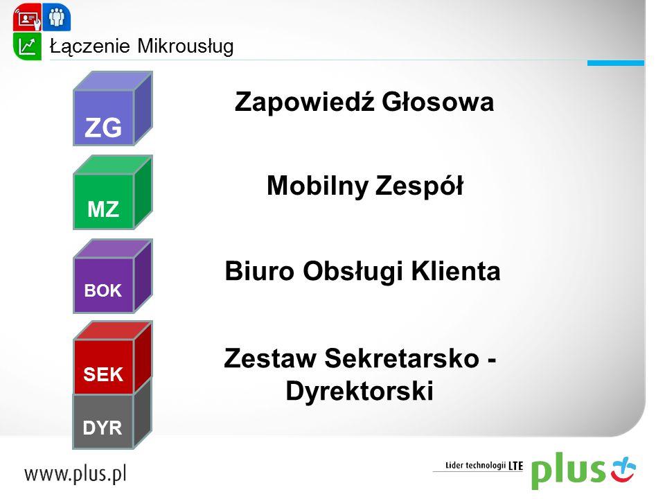 ZG MZ BOK DYR SEK Zapowiedź Głosowa Mobilny Zespół Biuro Obsługi Klienta Zestaw Sekretarsko - Dyrektorski