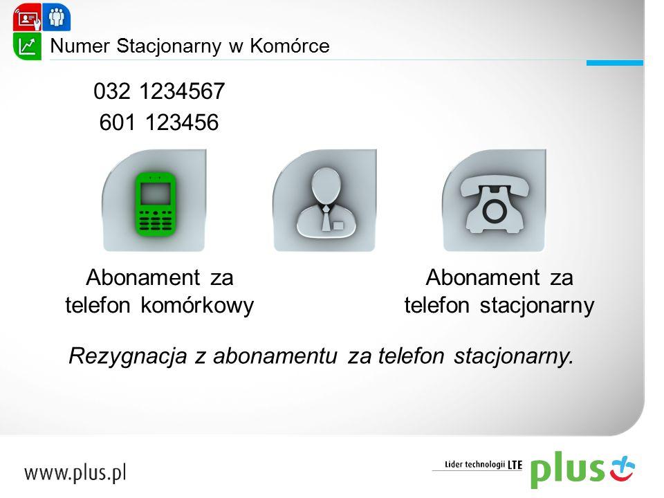 Numer Stacjonarny w Komórce Abonament za telefon komórkowy Abonament za telefon stacjonarny 601 123456 032 1234567 Rezygnacja z abonamentu za telefon
