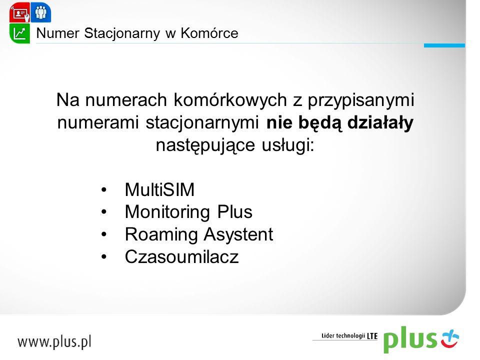 Na numerach komórkowych z przypisanymi numerami stacjonarnymi nie będą działały następujące usługi: MultiSIM Monitoring Plus Roaming Asystent Czasoumi