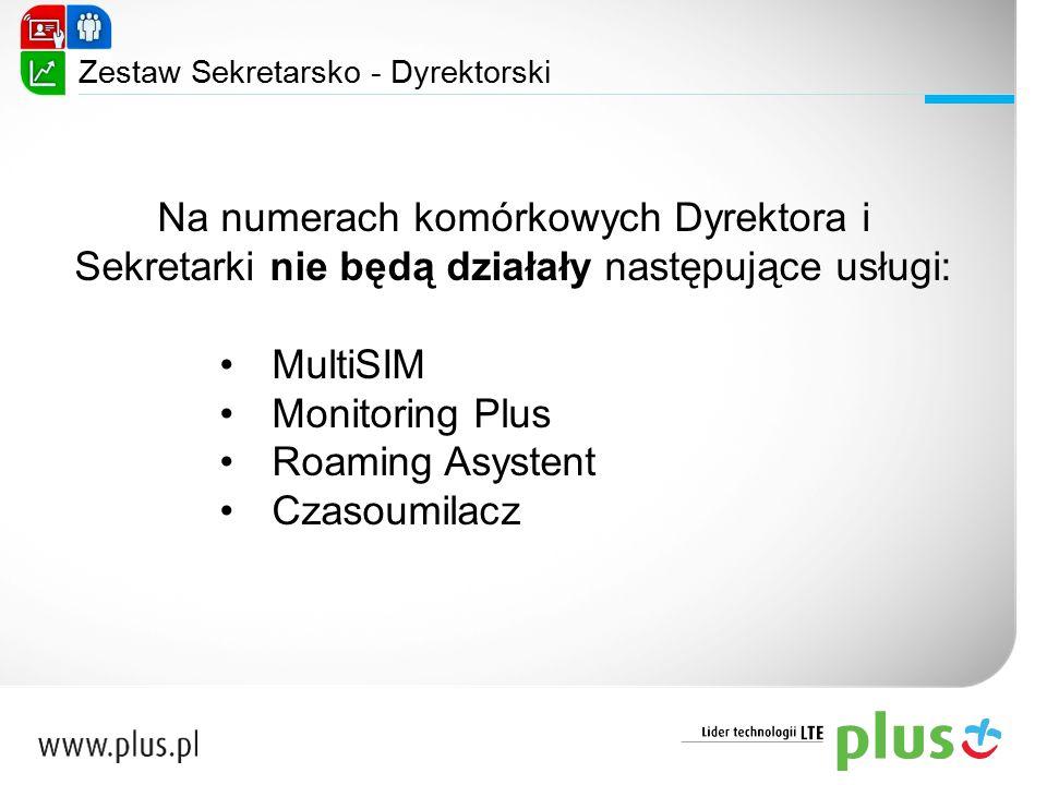 Na numerach komórkowych Dyrektora i Sekretarki nie będą działały następujące usługi: MultiSIM Monitoring Plus Roaming Asystent Czasoumilacz Zestaw Sek