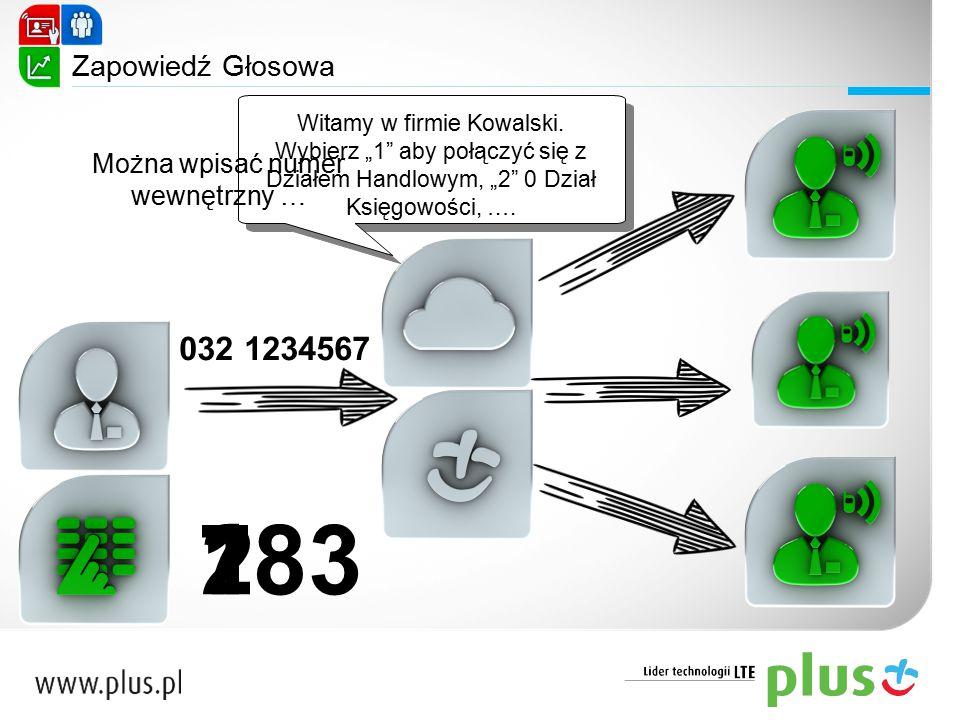"""Zapowiedź Głosowa 032 1234567 Witamy w firmie Kowalski. Wybierz """"1"""" aby połączyć się z Działem Handlowym, """"2"""" 0 Dział Księgowości, …. Witamy w firmie"""