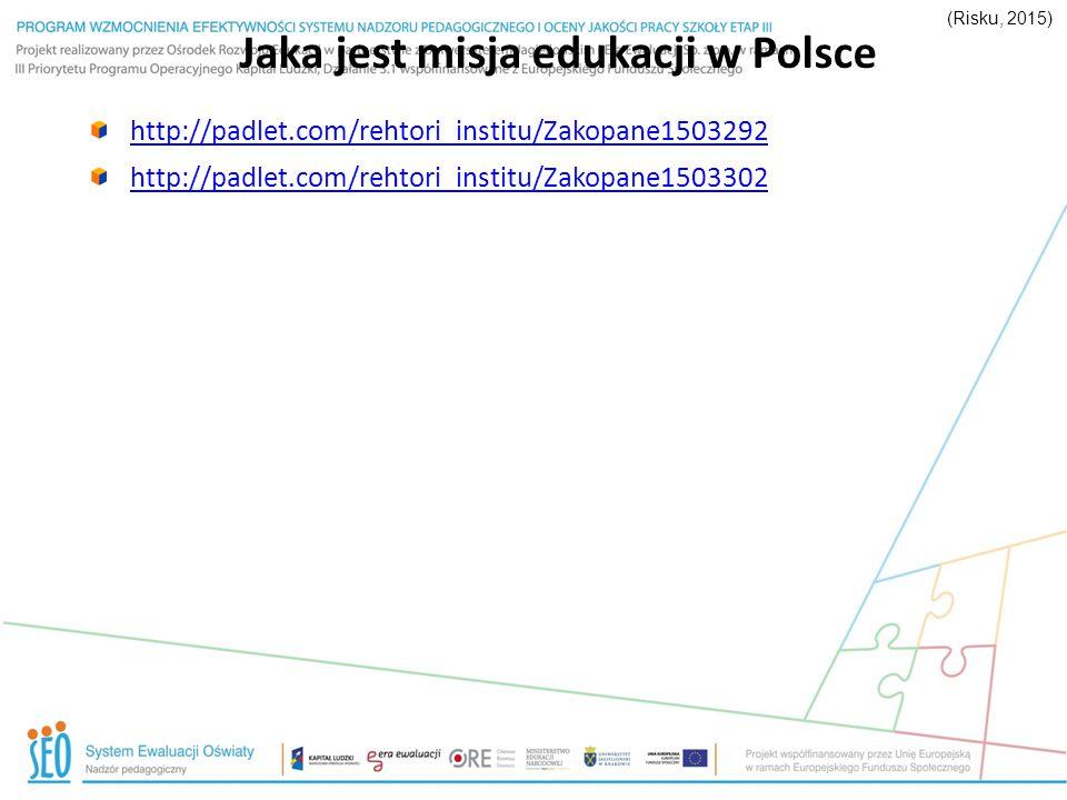 Jaka jest misja edukacji w Polsce http://padlet.com/rehtori_institu/Zakopane1503292 http://padlet.com/rehtori_institu/Zakopane1503302 (Risku, 2015)