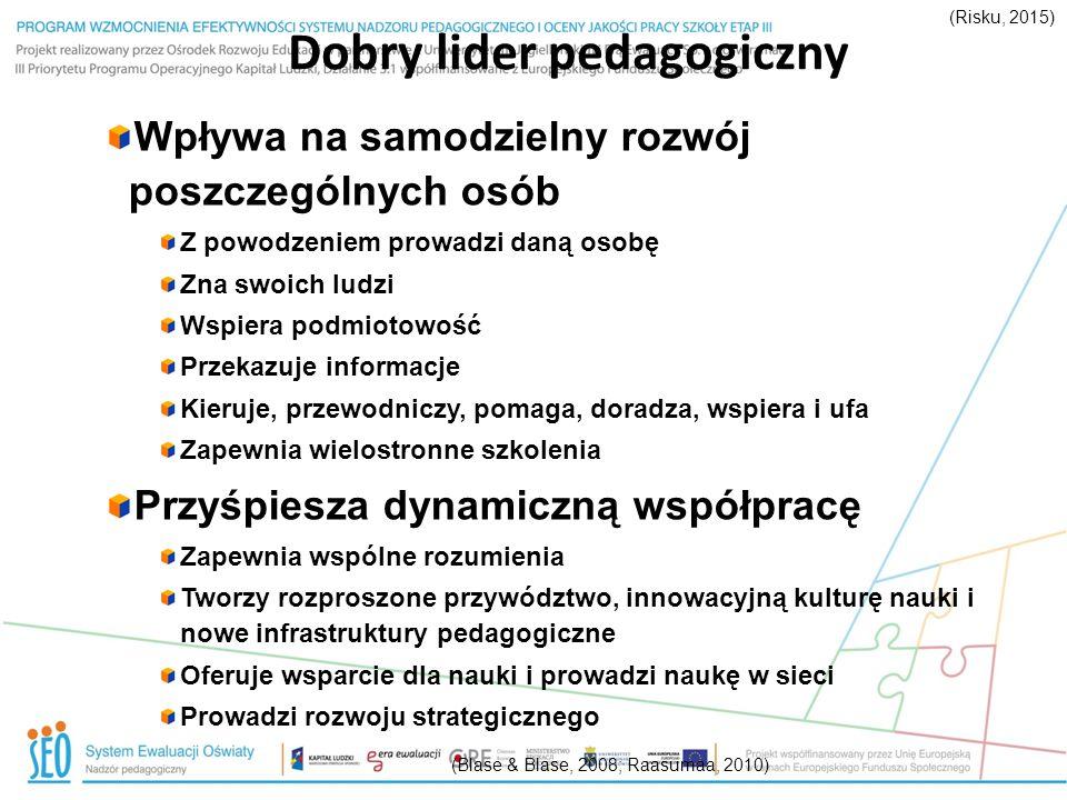 Dobry lider pedagogiczny (Blase & Blase, 2008; Raasumaa, 2010) Wpływa na samodzielny rozwój poszczególnych osób Z powodzeniem prowadzi daną osobę Zna