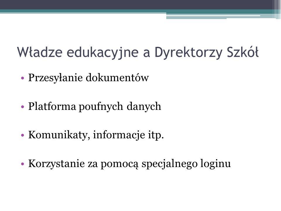 Władze edukacyjne a Dyrektorzy Szkół Przesyłanie dokumentów Platforma poufnych danych Komunikaty, informacje itp. Korzystanie za pomocą specjalnego lo