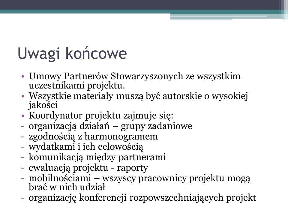 Uwagi końcowe Umowy Partnerów Stowarzyszonych ze wszystkim uczestnikami projektu. Wszystkie materiały muszą być autorskie o wysokiej jakości Koordynat