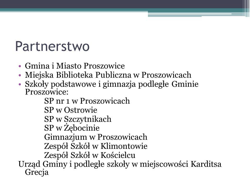 Partnerstwo Gmina i Miasto Proszowice Miejska Biblioteka Publiczna w Proszowicach Szkoły podstawowe i gimnazja podległe Gminie Proszowice: SP nr 1 w P