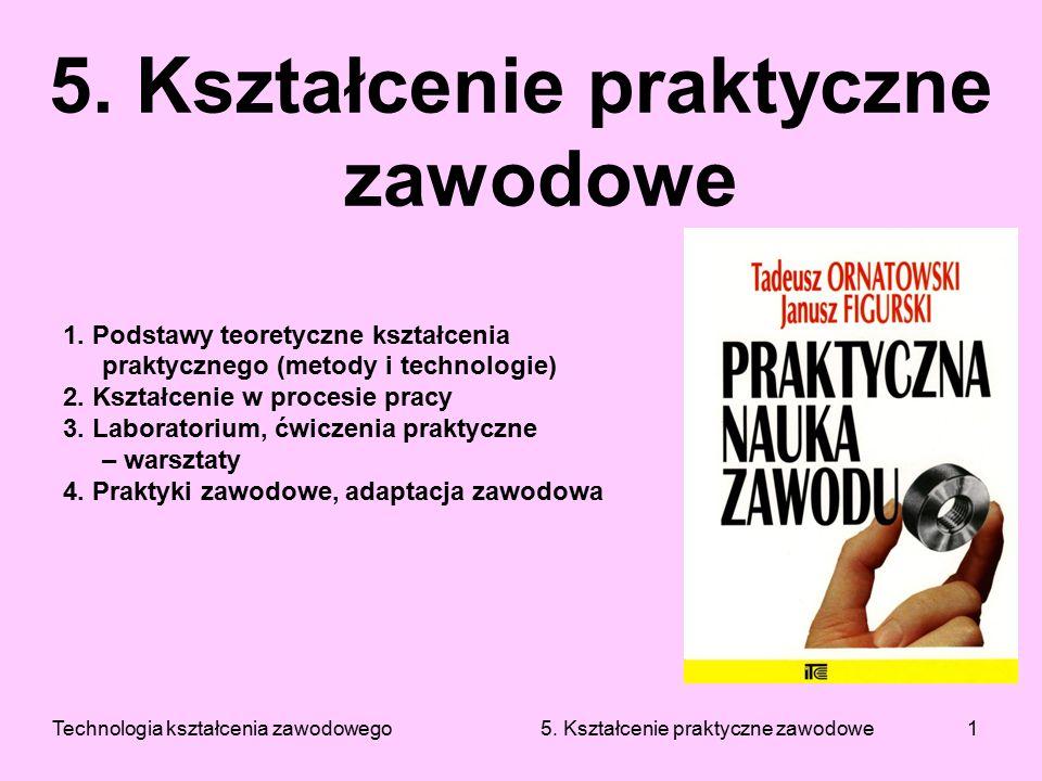 Technologia kształcenia zawodowego 5. Kształcenie praktyczne zawodowe1 5. Kształcenie praktyczne zawodowe 1. Podstawy teoretyczne kształcenia praktycz