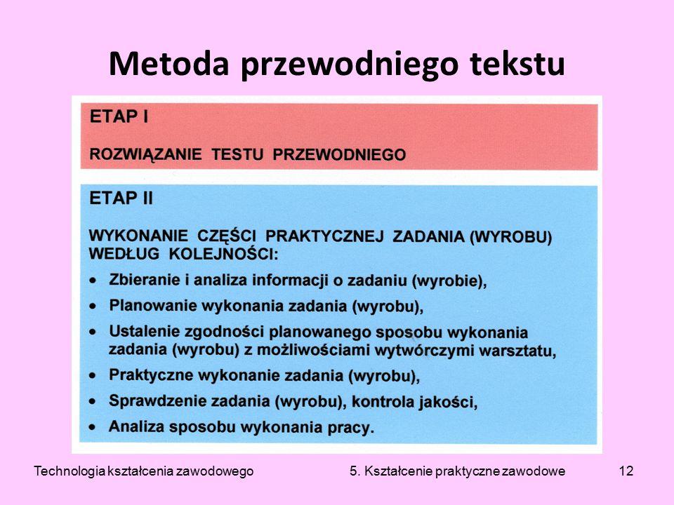 12 Metoda przewodniego tekstu Technologia kształcenia zawodowego 5. Kształcenie praktyczne zawodowe