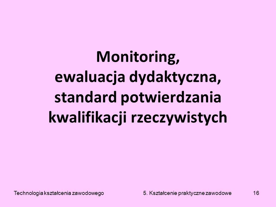 16 Monitoring, ewaluacja dydaktyczna, standard potwierdzania kwalifikacji rzeczywistych