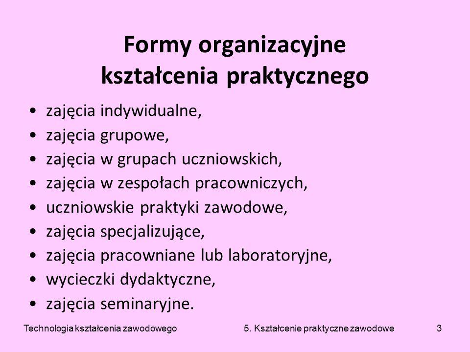 3 Formy organizacyjne kształcenia praktycznego zajęcia indywidualne, zajęcia grupowe, zajęcia w grupach uczniowskich, zajęcia w zespołach pracowniczyc