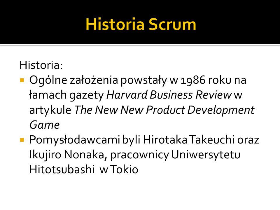 Historia:  Ogólne założenia powstały w 1986 roku na łamach gazety Harvard Business Review w artykule The New New Product Development Game  Pomysłoda