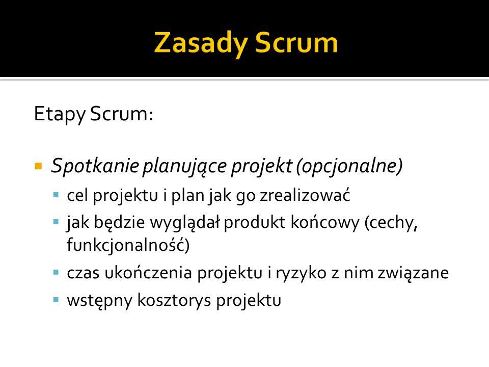 Etapy Scrum:  Spotkanie planujące projekt (opcjonalne)  cel projektu i plan jak go zrealizować  jak będzie wyglądał produkt końcowy (cechy, funkcjo