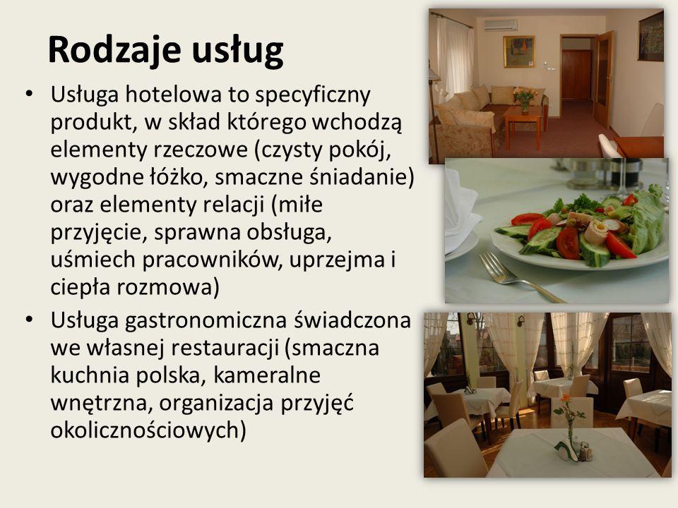 Rodzaje usług Usługa hotelowa to specyficzny produkt, w skład którego wchodzą elementy rzeczowe (czysty pokój, wygodne łóżko, smaczne śniadanie) oraz elementy relacji (miłe przyjęcie, sprawna obsługa, uśmiech pracowników, uprzejma i ciepła rozmowa) Usługa gastronomiczna świadczona we własnej restauracji (smaczna kuchnia polska, kameralne wnętrzna, organizacja przyjęć okolicznościowych)