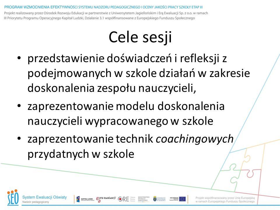 Cele sesji przedstawienie doświadczeń i refleksji z podejmowanych w szkole działań w zakresie doskonalenia zespołu nauczycieli, zaprezentowanie modelu doskonalenia nauczycieli wypracowanego w szkole zaprezentowanie technik coachingowych przydatnych w szkole