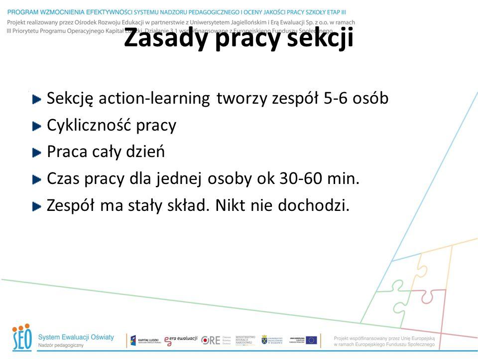 Zasady pracy sekcji Sekcję action-learning tworzy zespół 5-6 osób Cykliczność pracy Praca cały dzień Czas pracy dla jednej osoby ok 30-60 min. Zespół