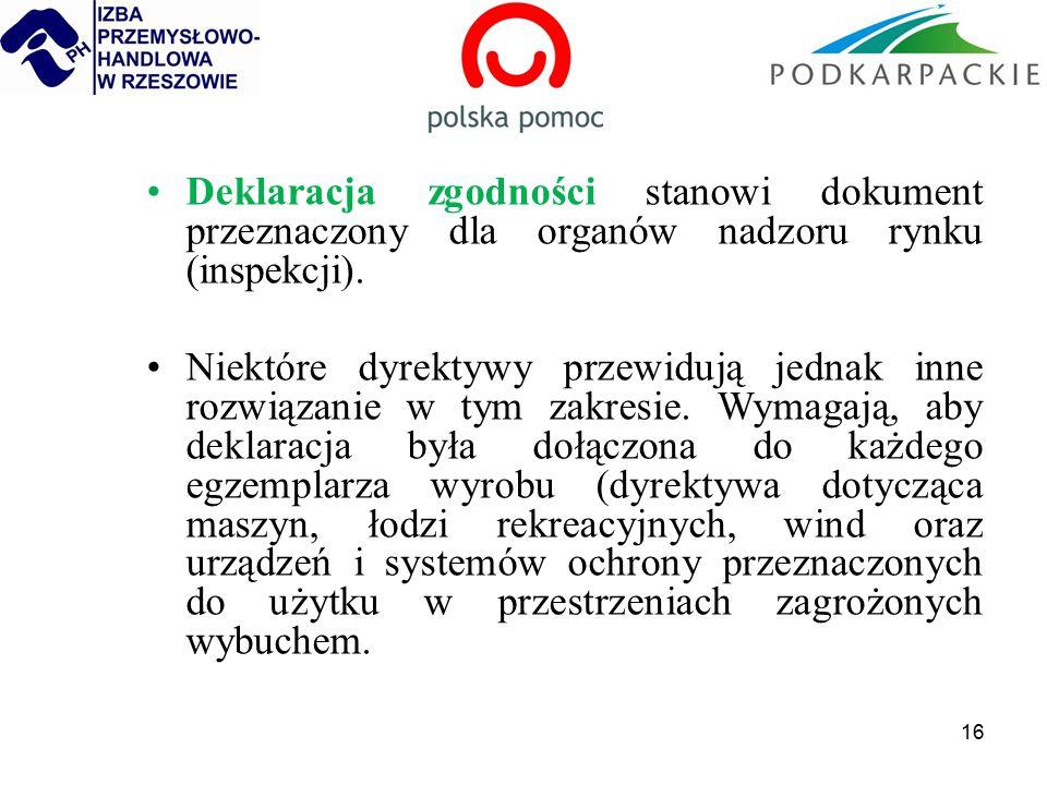 16 Deklaracja zgodności stanowi dokument przeznaczony dla organów nadzoru rynku (inspekcji).