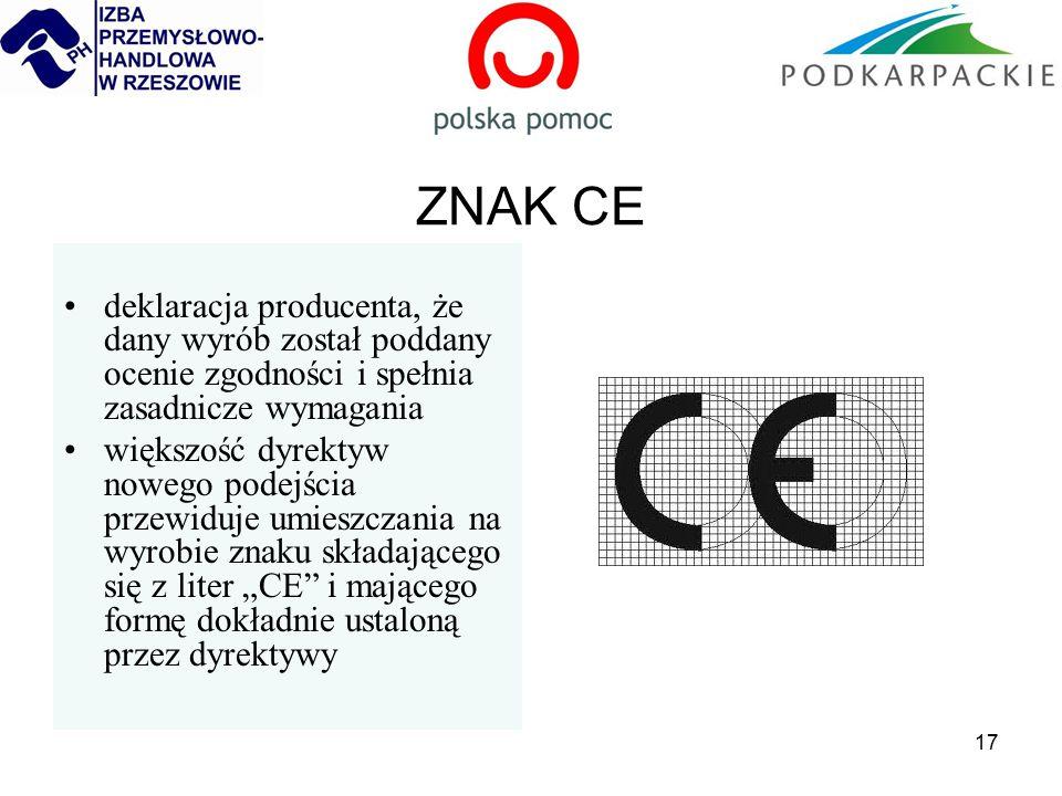 """17 ZNAK CE deklaracja producenta, że dany wyrób został poddany ocenie zgodności i spełnia zasadnicze wymagania większość dyrektyw nowego podejścia przewiduje umieszczania na wyrobie znaku składającego się z liter """"CE i mającego formę dokładnie ustaloną przez dyrektywy"""