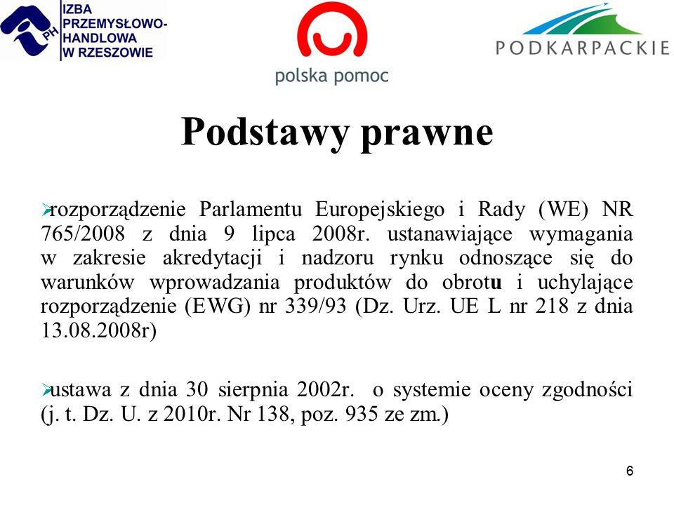 6 Podstawy prawne  rozporządzenie Parlamentu Europejskiego i Rady (WE) NR 765/2008 z dnia 9 lipca 2008r.
