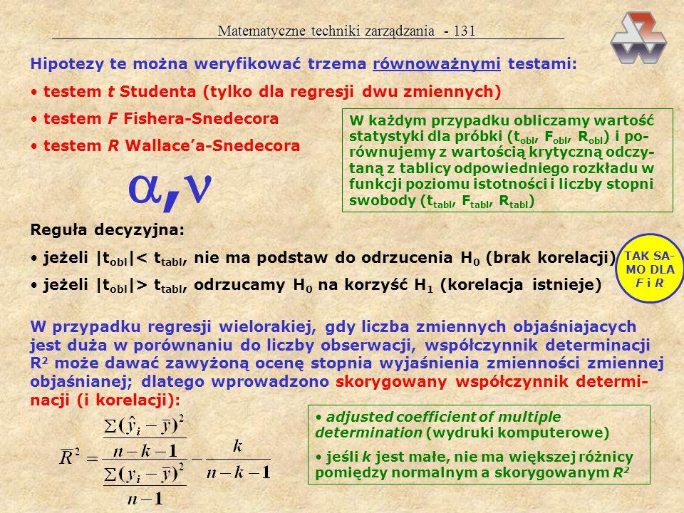 Matematyczne techniki zarządzania - 130 Etap I. Badanie istotności korelacji Celem etapu jest sprawdzenie, czy istnieje w populacji generalnej powią-
