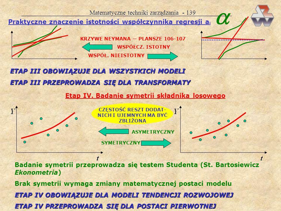 Matematyczne techniki zarządzania - 138 W etapie III następuje ostateczna selekcja zmiennych objaśniających: jeżeli wszystkie a i okażą się istotne, m
