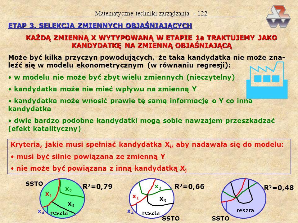 Matematyczne techniki zarządzania - 121 ETAP 2. GROMADZENIE DANYCH STATYSTYCZNYCH ZA JAKOŚĆ DANYCH ODPOWIADA MODELUJĄCY ! MUSISZ SPRAWDZAĆ KAŻDE DANE