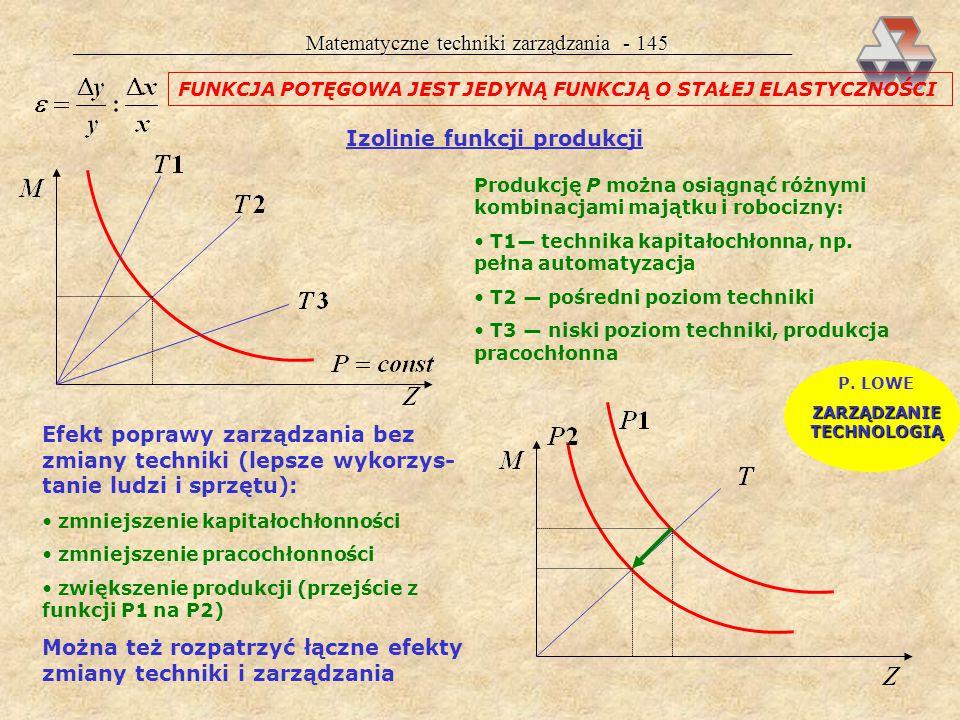 Matematyczne techniki zarządzania - 144 a 0 = 50,8poziom kosztów stałych; jeśli firma nie będzie prowadzić żadnej działalności, poniesie koszty w wyso