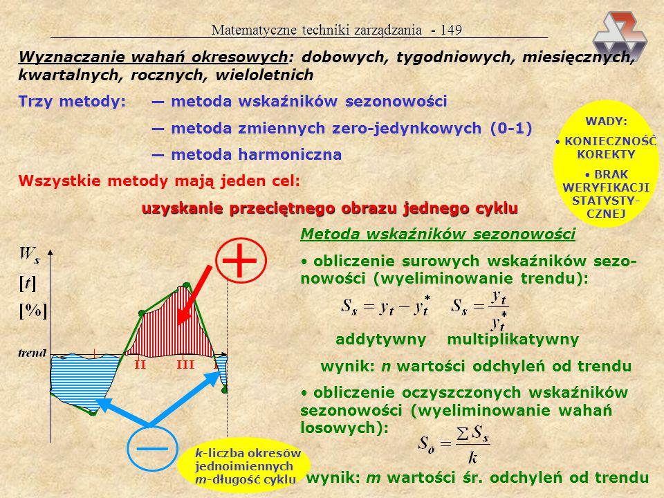 Matematyczne techniki zarządzania - 148 Średnia ruchoma: mając szereg czasowy y 1, y 2,....., y n, przyjmujemy długość kroku k = 3, lub 5, lub 7 itd.