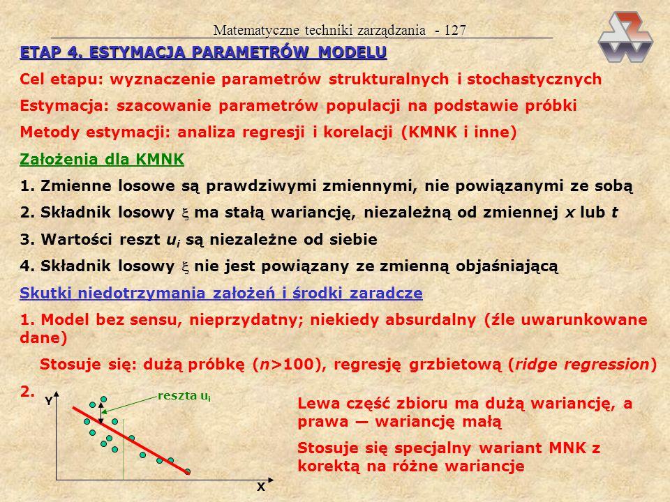 Matematyczne techniki zarządzania - 126 Przykład 32 cd. Wybierzemy zmienną x 2 (reprezentantka grafu spójnego) i zmienną x 3 (graf zerowy) Metoda Hell