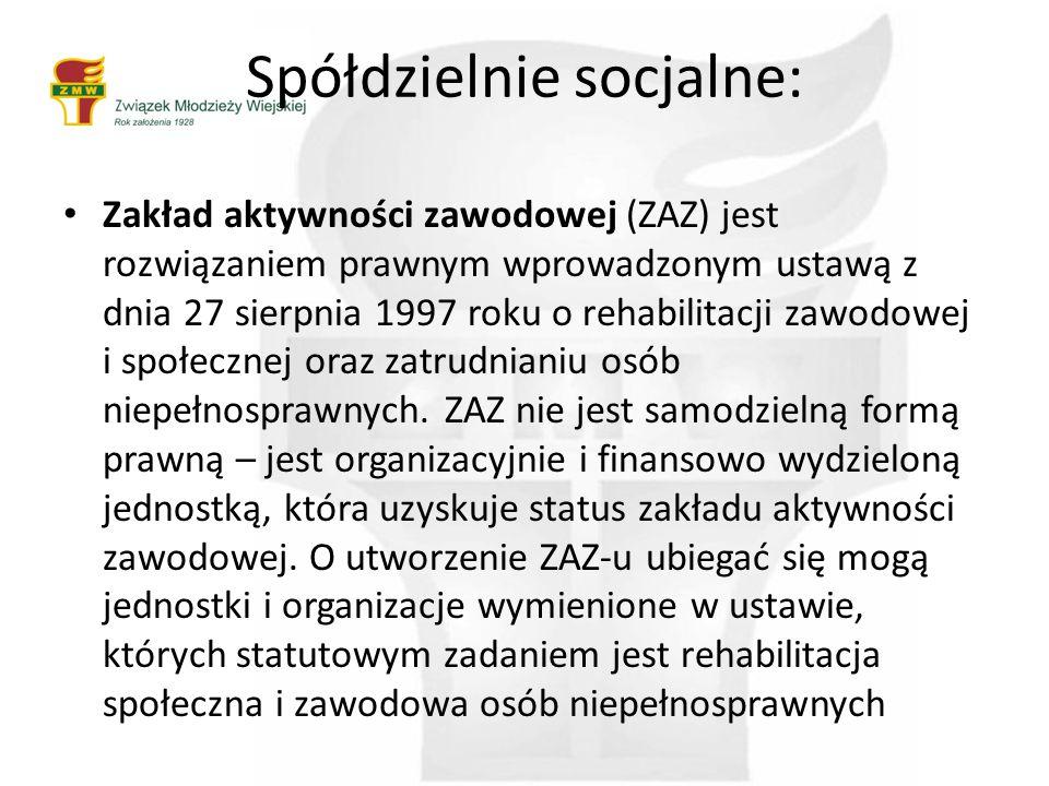 Spółdzielnie socjalne: Zakład aktywności zawodowej (ZAZ) jest rozwiązaniem prawnym wprowadzonym ustawą z dnia 27 sierpnia 1997 roku o rehabilitacji zawodowej i społecznej oraz zatrudnianiu osób niepełnosprawnych.