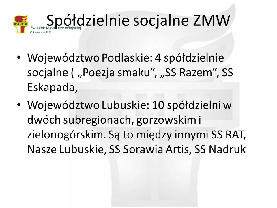 """Spółdzielnie socjalne ZMW Województwo Podlaskie: 4 spółdzielnie socjalne ( """"Poezja smaku , """"SS Razem , SS Eskapada, Województwo Lubuskie: 10 spółdzielni w dwóch subregionach, gorzowskim i zielonogórskim."""
