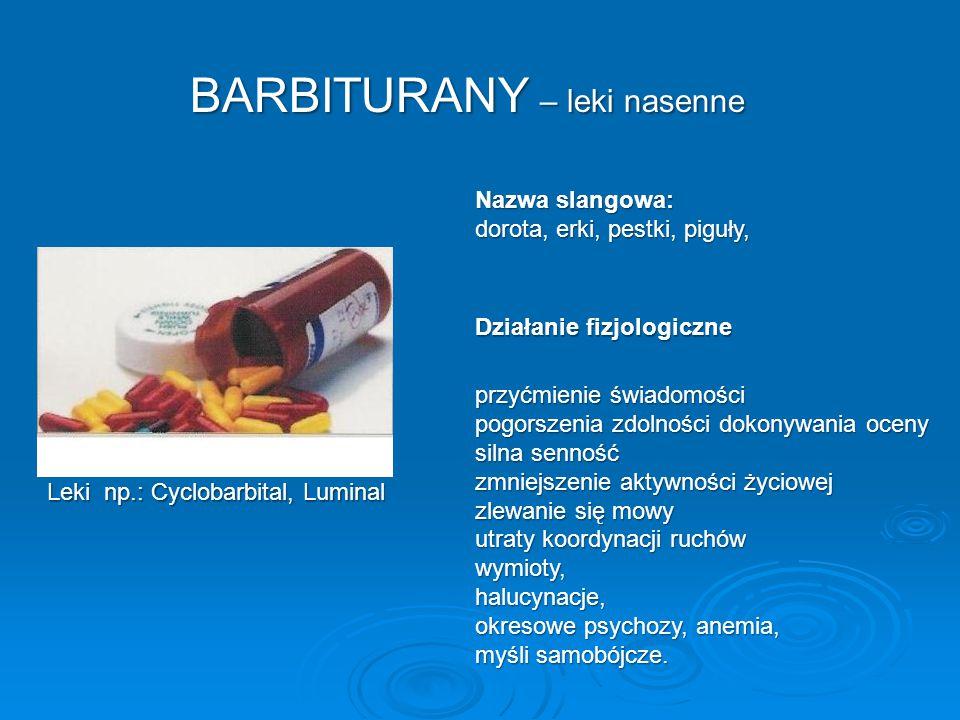 BARBITURANY – leki nasenne przyćmienie świadomości pogorszenia zdolności dokonywania oceny silna senność zmniejszenie aktywności życiowej zlewanie się